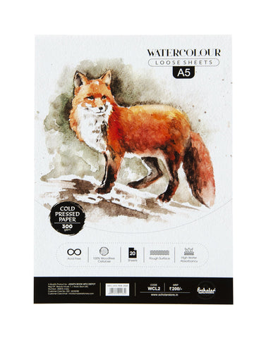 A5 Watercolour Cold Pressed Loose Sheets - 300 Gsm (WCL2) (Set of 2)