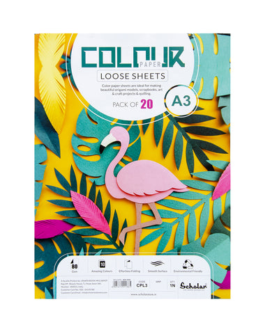 A3 COLOR PAPER LOOSE SHEETS - 80 GSM (CPL3) (Set of 2)