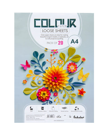 A4 COLOR PAPER LOOSE SHEETS - 80 GSM (CPL4) (Set of 4)