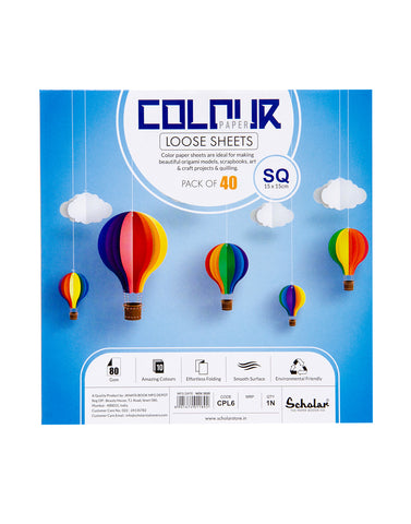 SQ COLOR PAPER LOOSE SHEETS - 80 GSM (CPL6) (Set of 5)