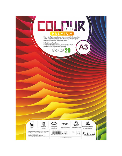 A3 COLOR PAPER LOOSE SHEETS - 120 GSM (CPLT3)