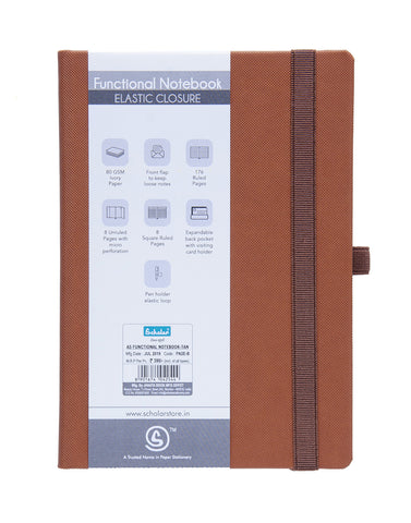 A5 Functional Notebook (Elastic) - Tan