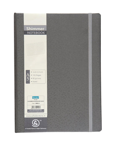 A5 SHIMMER NOTEBOOK - SILVER