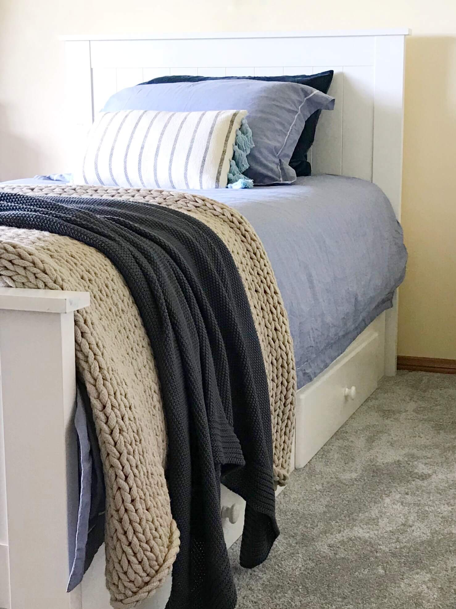 Chambray Blue bedding cotton quilt set |Various sizes |The Home Maven