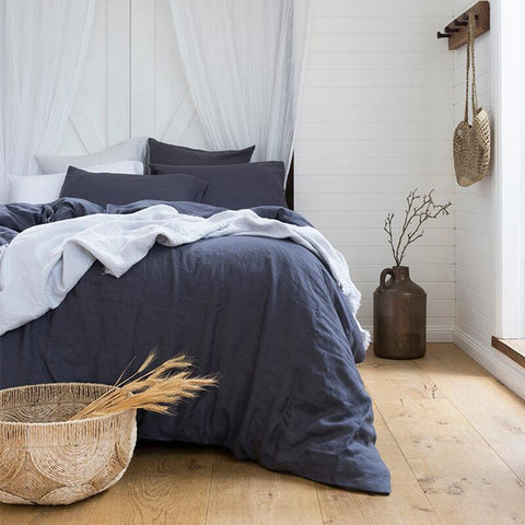 Charcoal French linen quilt cover set |King and super king sizes |The Home Maven