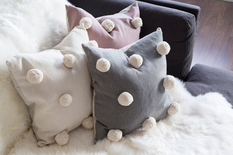 Pom Pom Cushion - Ivory -Cushion - $54.95 | The Home Maven
