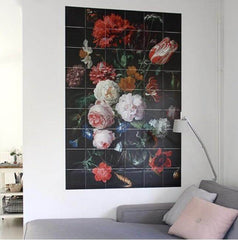 IXXI Still Life With Flowers in a glass jar wall art tiles |The Home Maven