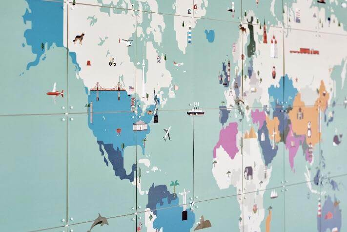 Around The World Map - IXXI Tile Wall Art |The Home Maven