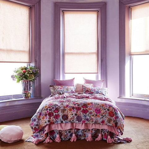 Kip and co field of dreams quilt cover mauve with grey base | The Home Maven