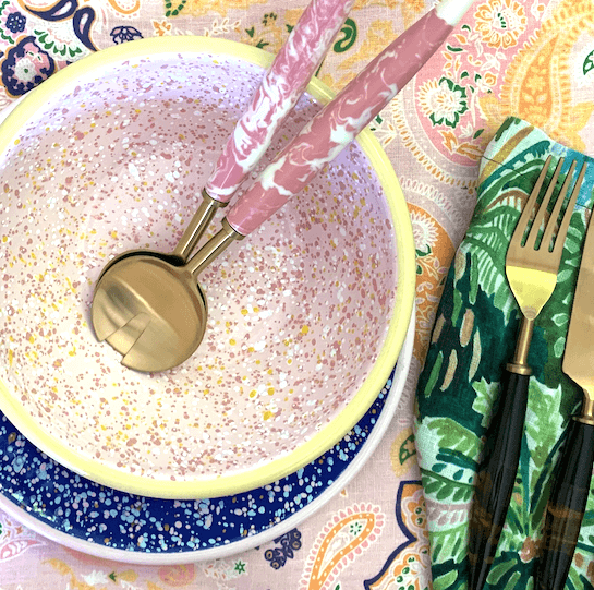 Kip and co pink marble salad servers | The Home Maven