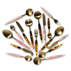 Kip and co Pink Marble Smokey Amber Cutlery | The Home Maven