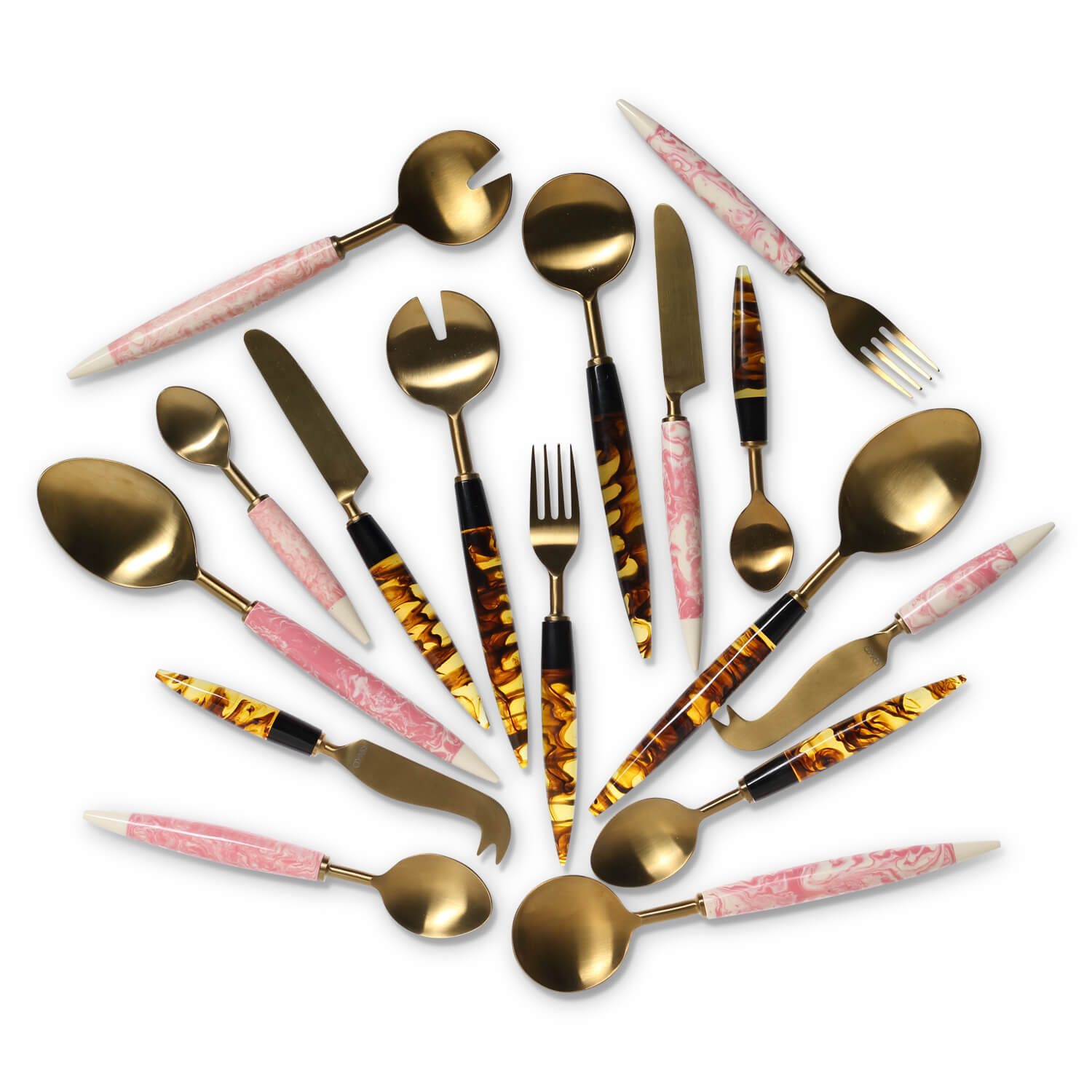 KIP AND CO SMOKEY AMBER PINK MARBLE CUTLERY |THE HOME MAVEN