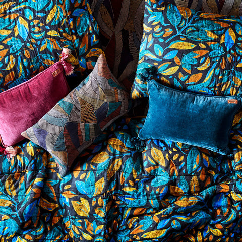 Kip and co Velvet Souk Cushion - Teal | The Home Maven
