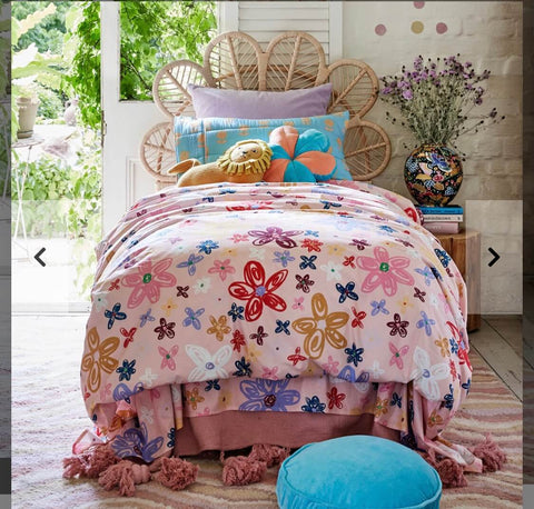 KIP AND CO PANSY FLORAL FITTED SHEET PILLOWCASE | THE HOME MAVEN