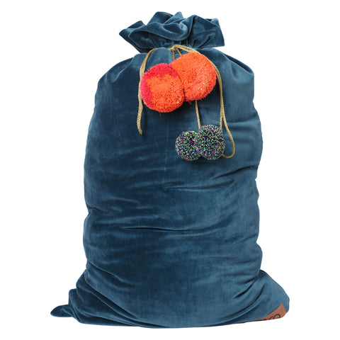 Velvet Santa Sack - Teal |The Home Maven