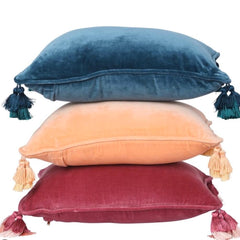 Kip and co Velvet Souk Cushion - Peony rose pink, Apricot and Teal | The Home Maven