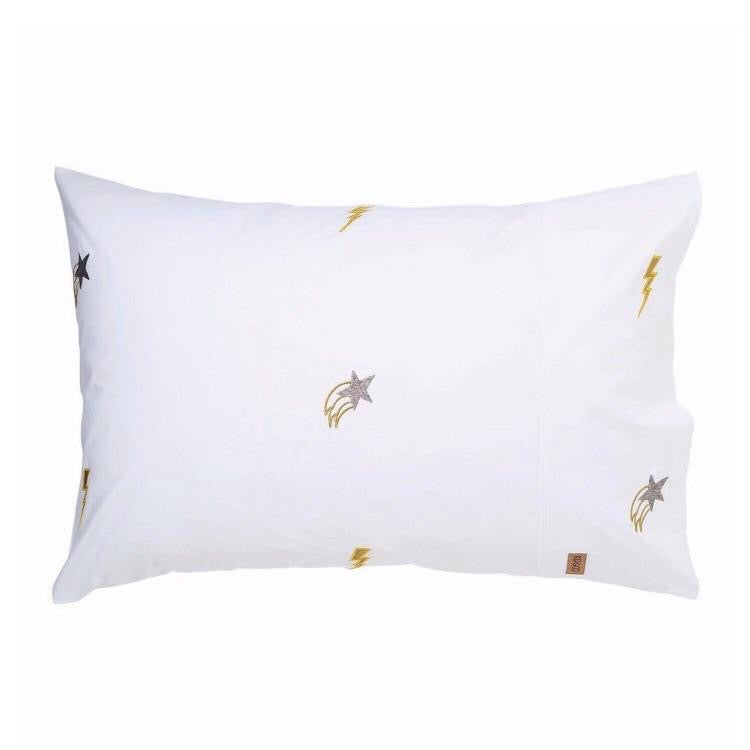 Kip and co pillowcase - Out Of Space White Embroidered |The Home Maven