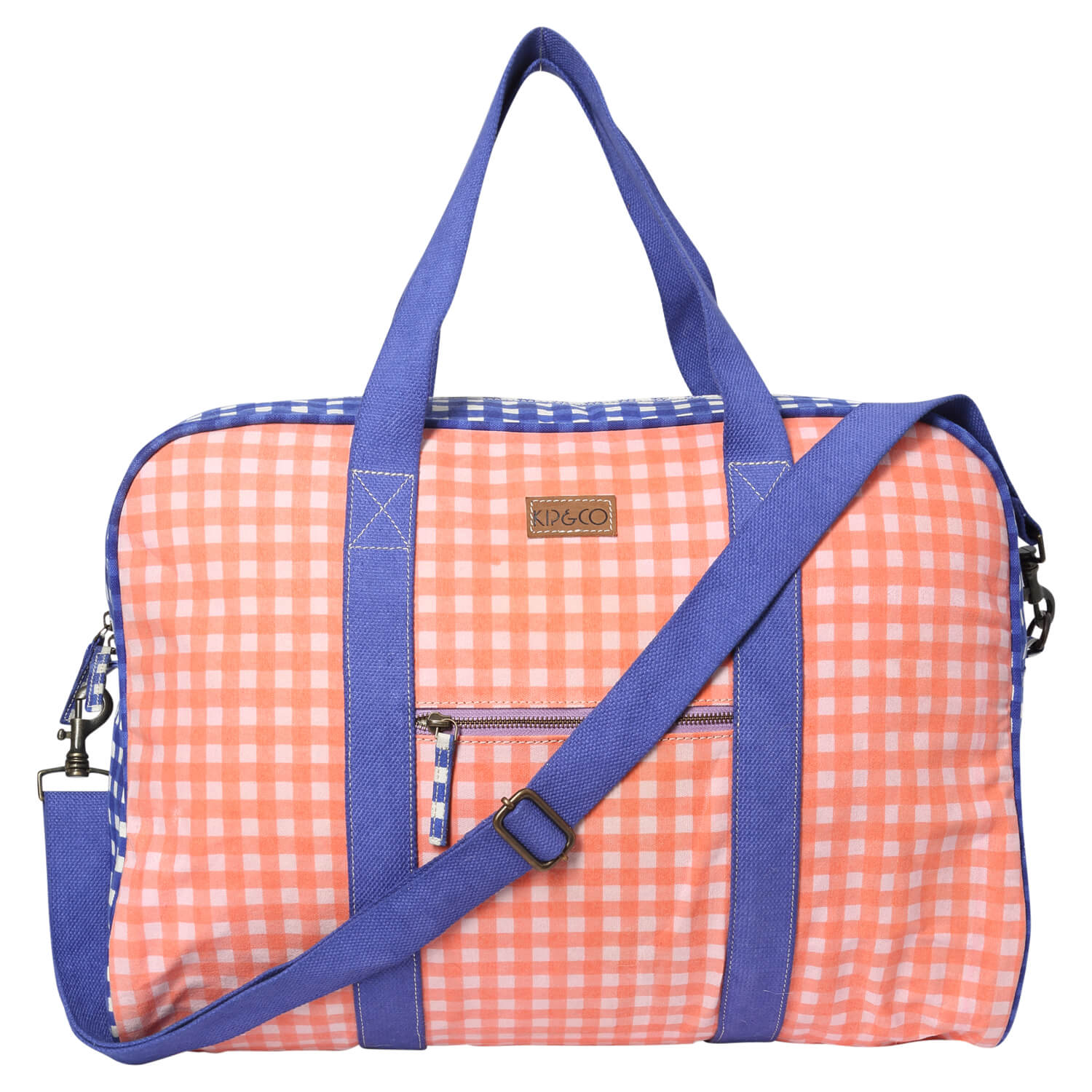 Duffle bag - Gingham Blue and Pink