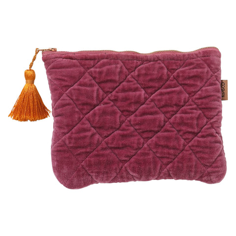 Kip and co peony rose velvet quilted cosmetics purse| The Home Maven