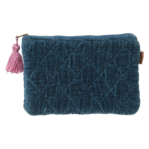 Kip and co teal velvet quilted cosmetics purse | $35 | The Home Maven