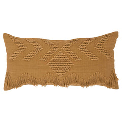 Langdon ltd Tan Fringe Rectangular Cushion - $109 |The Home Maven