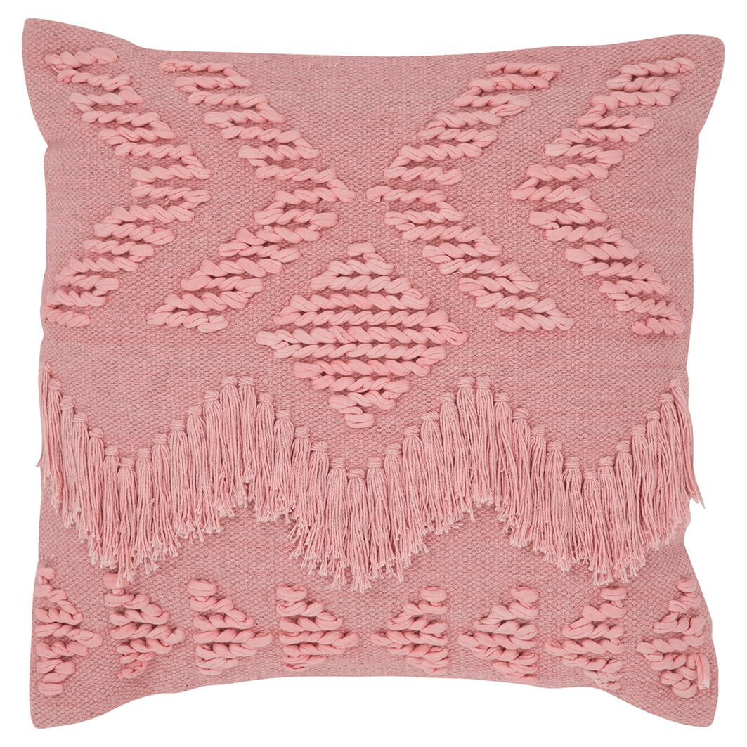Langdon ltd Fringe Cushion - Blush - $99 | The Home Maven