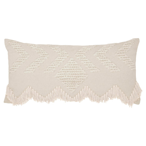 Langdon Fringe Rectangular Cushion White - Homewares - $109 | The Home Maven