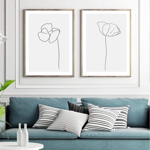 Love your space Simplicity no. 1 Print flower sketch | Various Sizes | The Home Maven