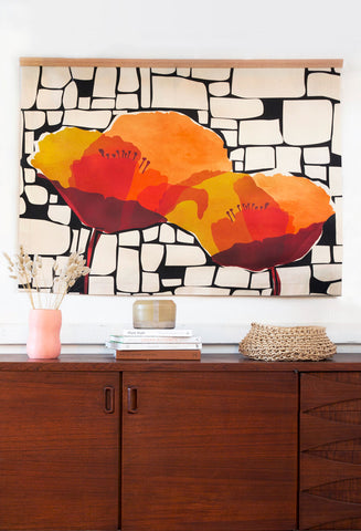 Botanical collection Poppy - Original Fabric Wall Hanging - $295 |My House Loves