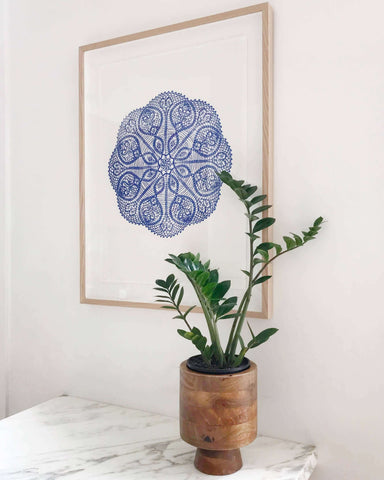 lumiereart and co Prussian blue mandala framed and unframed available | The Home Maven