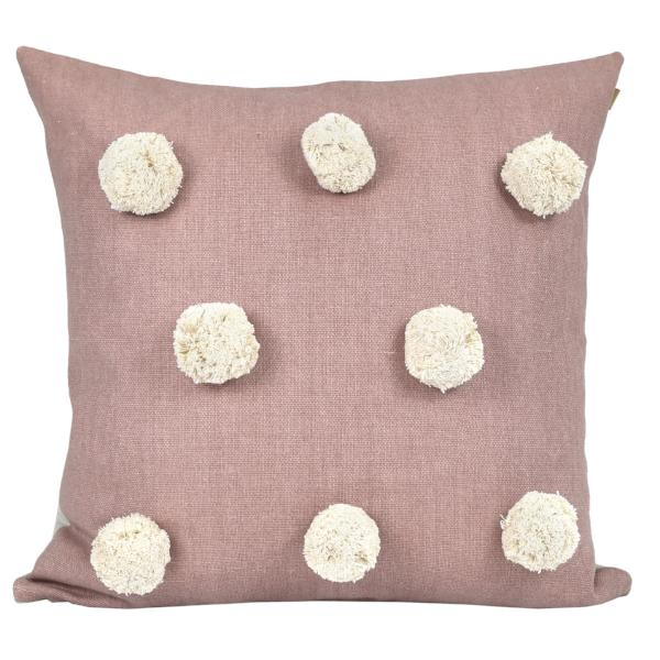 Pom Pom Cushion Mushroom Pink |$69.95 | The Home Maven
