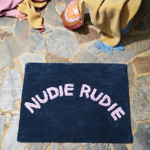 Sage and Clare Nudie Rudie Denim bath mat | The Home Maven
