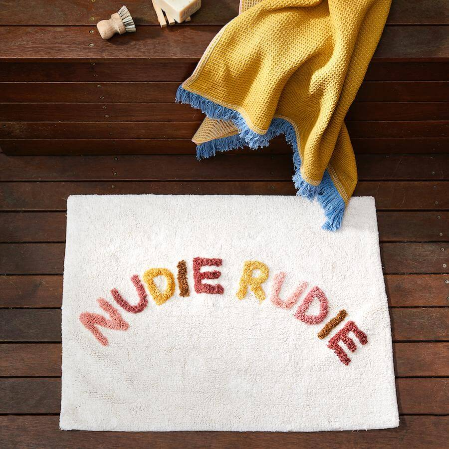 Sage and Clare Nudie Rudie terra styled bath mat | The Home Maven