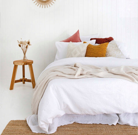 White Cotton Quilt Cover - Orana - Adult Bedding |My House Loves