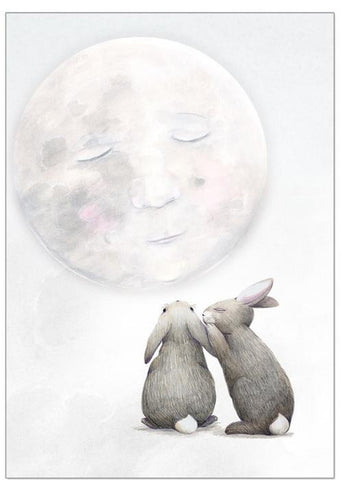 Children's Wall Art - Moon Rabbits Print - $49.95 - $79.95 |My House Loves
