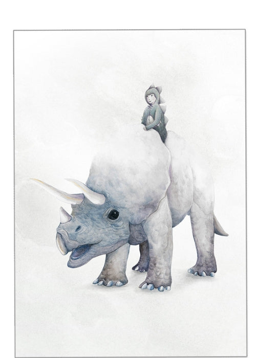 Winter Avenue press I Dream of Dinosaurs - Triceratops Print - $49.95 - $79.95 | The Home Maven