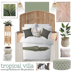 Eadie Flette khaki feather filled cushion bedroom moodboard |$109.95 |The Home Maven