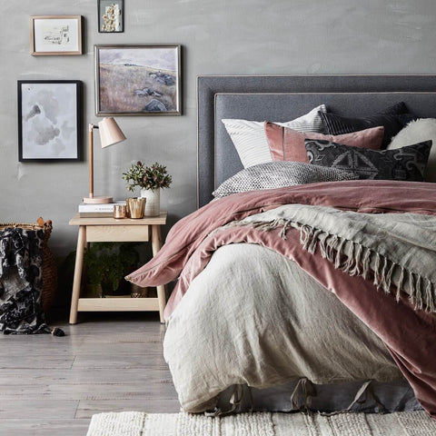 Eddie Linlas Velvet Quilt Cover and Pillowcase Set |Musk | The Home Maven