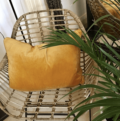 Eadie lynette cushion cotton velvet linen feather insert rectangle mustard The Home Maven
