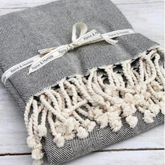 Grey herringbone throw rug with tassels | $59.95 | The Home Maven