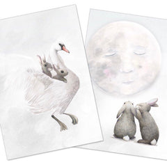 Winter Avenue childrens prints Moon rabbits |The Home Maven