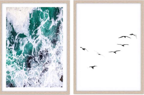 Ocean II & Birds - Photographic Print Pair