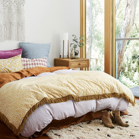Sage and clare French Linen lilac Quilt Cover | The Home Maven