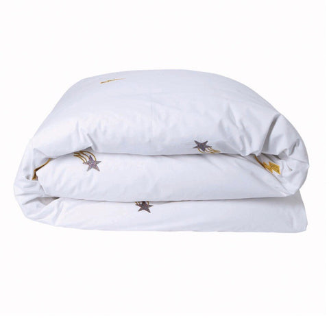 Cotton Quilt Cover - Out Of Space White Embroidered - Children's bedding |The Home Maven