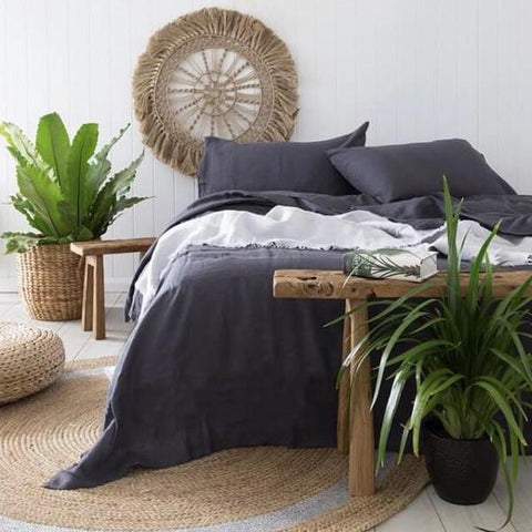 Linen Quilt Cover -charcoal - Adult Bedding - $299.95 - $349.95 |My House Loves