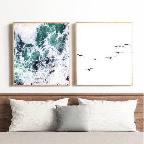oceans and birds photographic print pair - my house loves