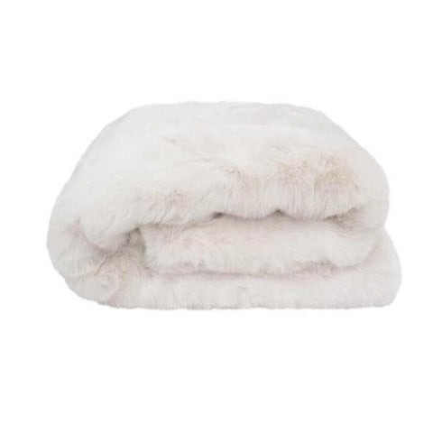 Faux faux plush throw Ivory - $159.95 - The Home Maven