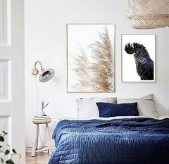 Pampas grass black cockatoo photographic print | Various sizes | My House Loves