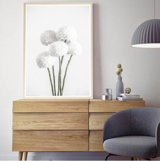 Love your space |White chrysanthemums photographic print |Various sizes | The Home Maven