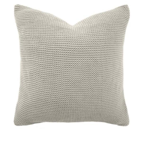 Cotton Knitted Cushion pebble colour | $49.95 | The Home Maven